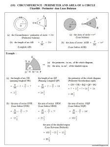 Nota Fizik Tingkatan 5 Yang Power 10 Lilitan Perimeter Luas Bulatan Circumference Perimeter area