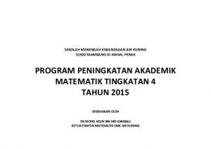 Soalan Latihan Matematik Tingkatan 4 Hebat Program Peningkatan Akademik Math Spm F4 2015