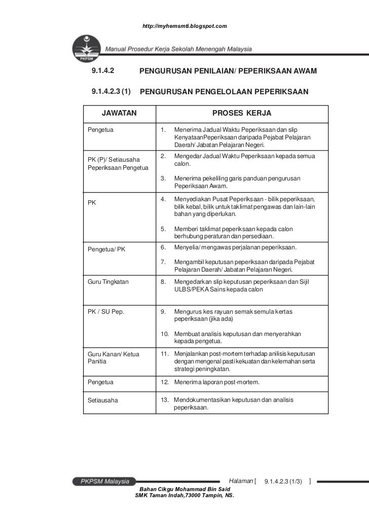 Soalan Peperiksaan Akhir Tahun Sains Rumah Tangga Tingkatan 4 Penting Manual Prosedur Kerja Sekolah Menengah Of Pelbagai Peperiksaan Akhir Tahun Sains Rumah Tangga Tingkatan 4 Yang Hebat Khas Untuk Guru-guru Download!