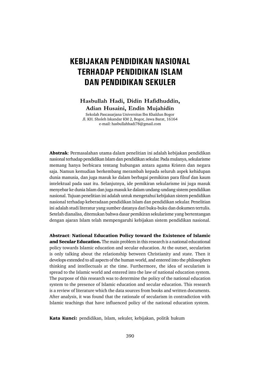 pdf kebijakan pendidikan nasional terhadap pendidikan islam dan pendidikan sekuler