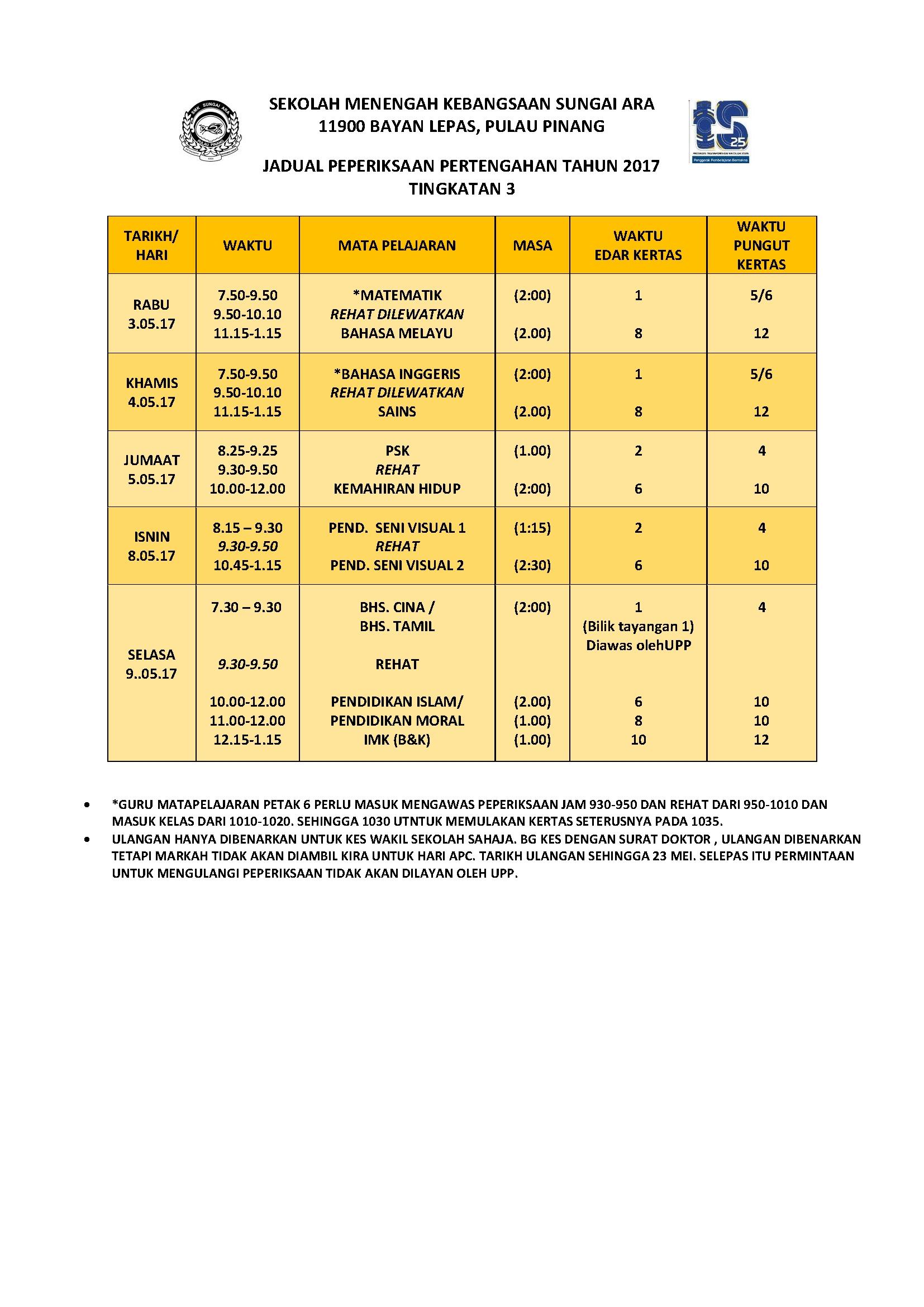 Soalan Peperiksaan Pertengahan Tahun Bahasa Inggeris Tingkatan 1 Baik Jadual Peperiksaan Pertengahan Tahun Of Senarai Peperiksaan Pertengahan Tahun Bahasa Inggeris Tingkatan 1 Yang Menarik Khas Untuk Guru-guru Muat Turun!