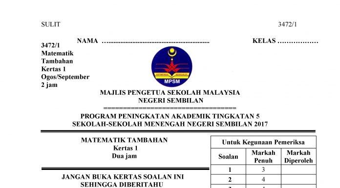 Soalan Percubaan Matematik Spm 2019 Negeri Sembilan Kebaya Glamar