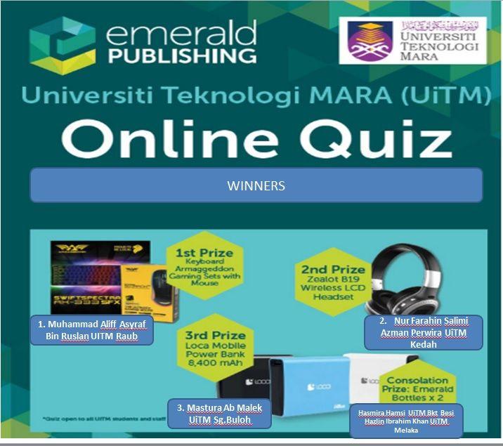 tahniah pemenang emerald online quiz uitm 2018