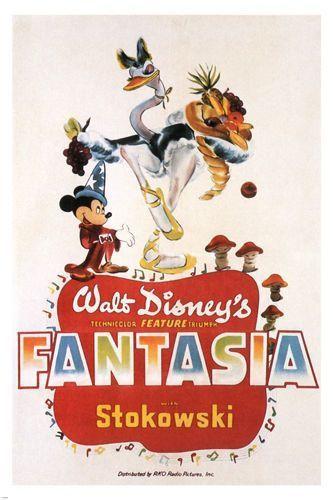 walt disney s fantasia movie poster wild fun cartoon 1940 animated 24x36