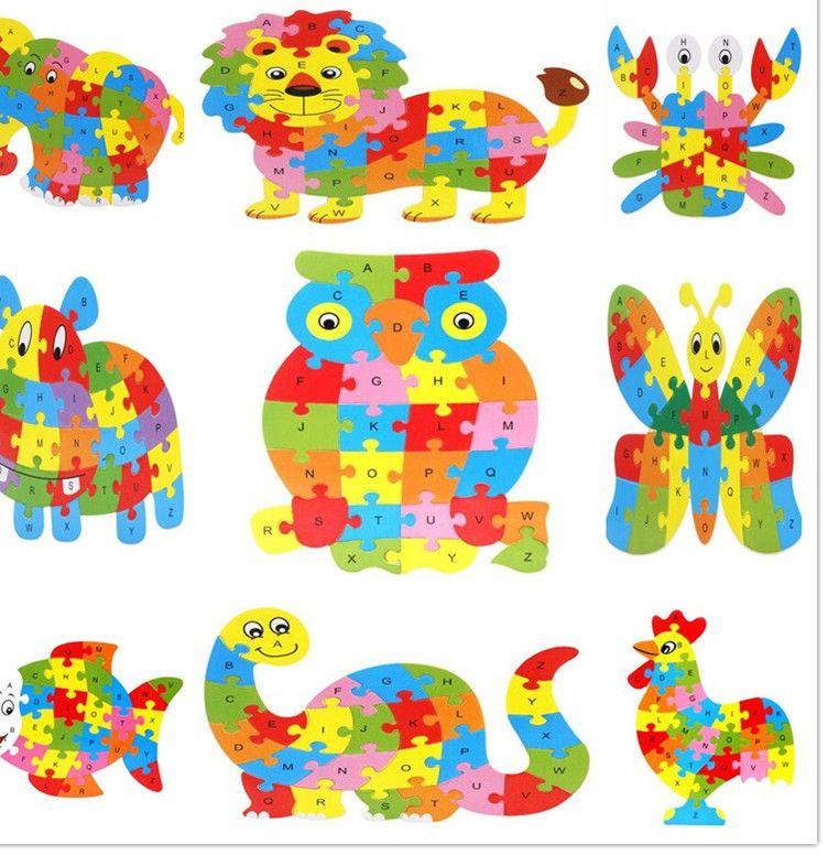 3d kayu jigsaw inggris surat teka teki dinosaurus hippo gajah owl singa ayam kupu kupu mainan intelijen anak mainan pendidikan