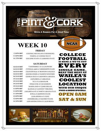the pint and cork week 10 of college football now open for breakfast on