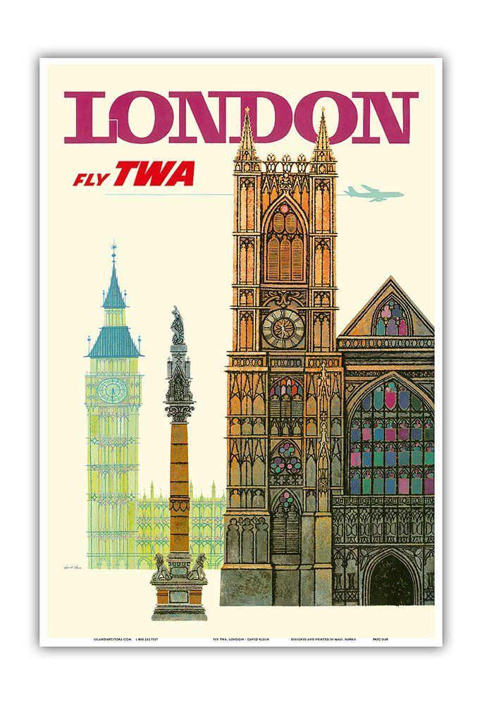 amazon com london uk trans world airlines fly twa westminster abbey church vintage airline travel poster by david klein c 1960s master art print