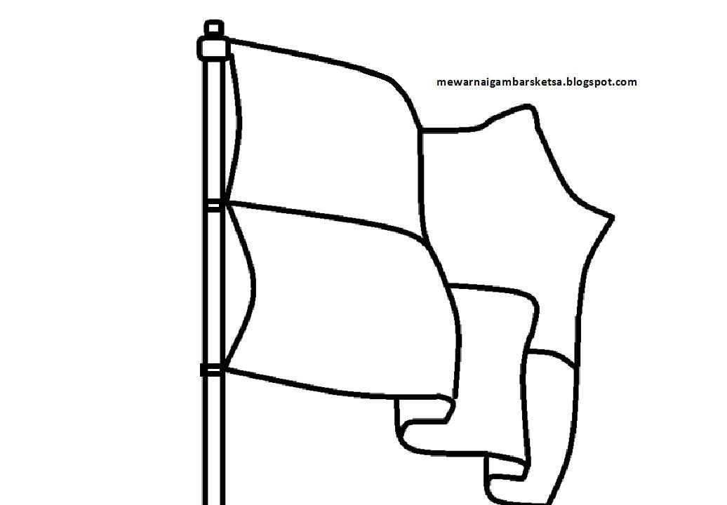 mewarnai gambar sketsa bendera merah putih 6