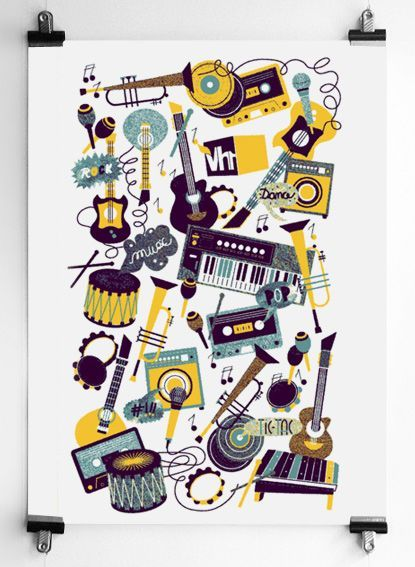 musical instruments 3 color poster