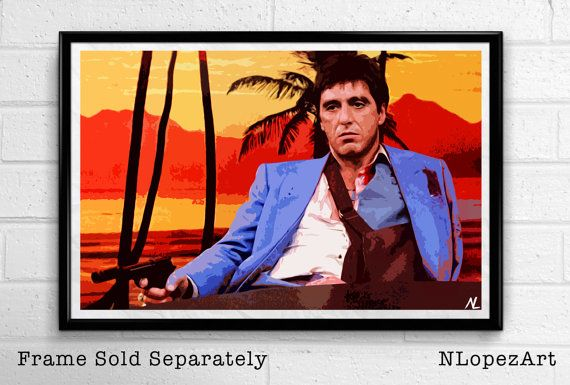 scarface tony montana al pacino illustration movie icon gangster pop art film home decor poster
