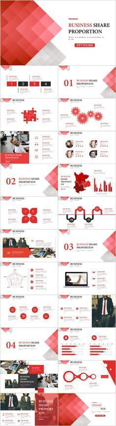 23 red business share chart powerpoint template