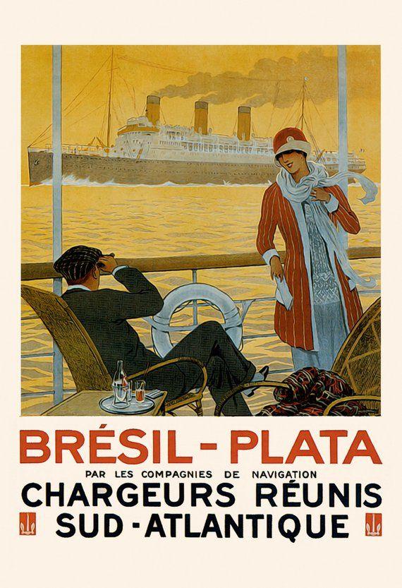 brasil travel poster art deco travel poster vintage boat poster cruise ship poster 1920 s flap