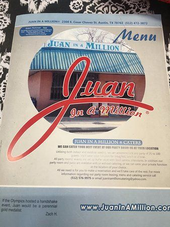 juan in a million the menu cover before they whisked it away to get us