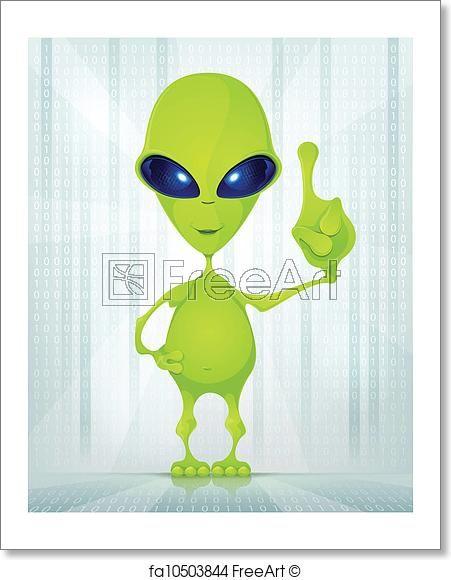 cartoon character funny alien on digital creative background idea vector eps 10