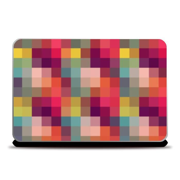 colorful geometric squares abstract mosaic pattern laptop skins arti postergully