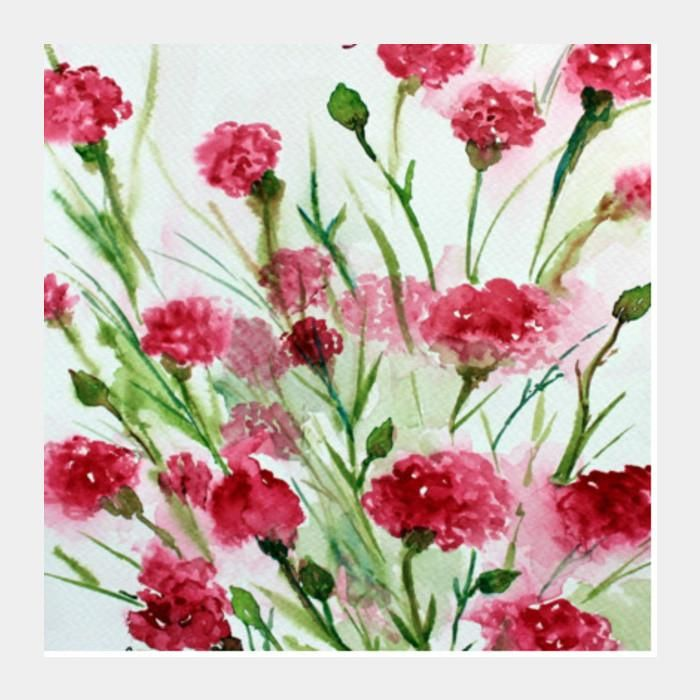 painted pink watercolor spring flowers poster square art prints arti postergully