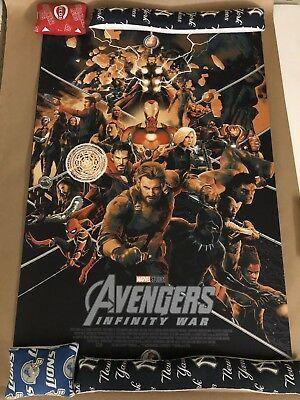 mondo marvel the avengers infinity war by matt taylor 24x36 poster in hand