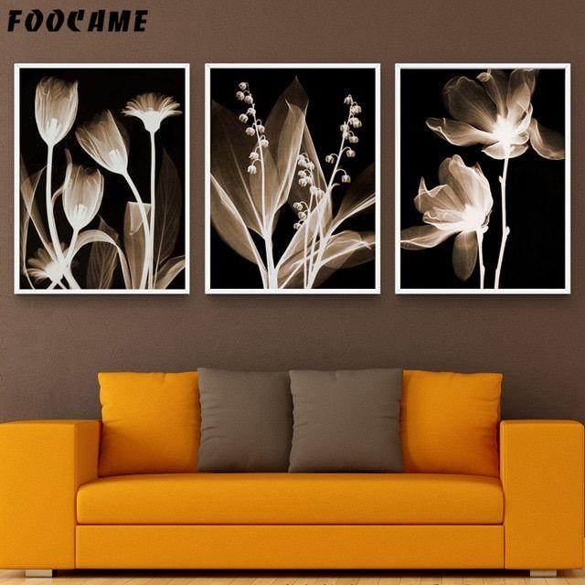 foocame hitam latar belakang bunga minimalis poster dan cetakan seni kanvas lukisan dekorasi rumah gambar dinding