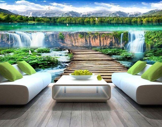 lukisan dinding kertas untuk ruang tamu kamar tidur air terjun lanskap latar belakang dinding 3d foto