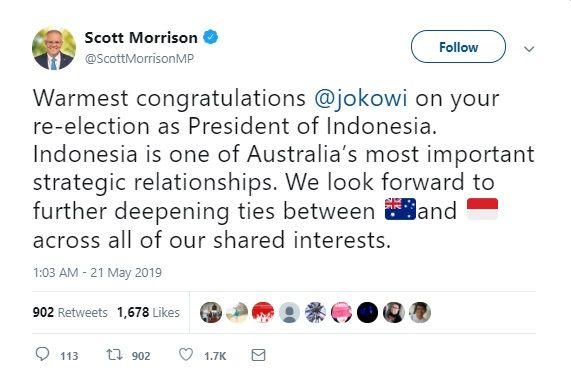 melalui akun twitter duta besar australia untuk indonesia gary quinlan ia menerjemahkan ucapan pm morrison pm australia scottmorrisonmp ucapkan selamat