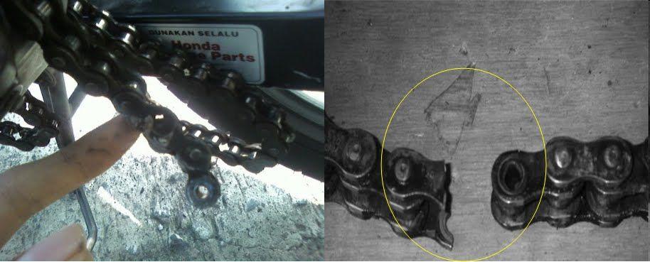 akibat rantai putus tengoklah rantai bila rantai putus boleh mengakibatkan kerosakan besar apa bila rantai tersangkut dalam cover enjin motorsikal dan