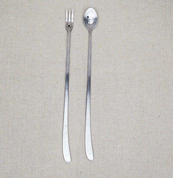 baru kedatangan senyum memanjang menangani stainless steel sendok garpu kit kreatif peralatan makan dinner set 2 pcs lot gratis pengiriman