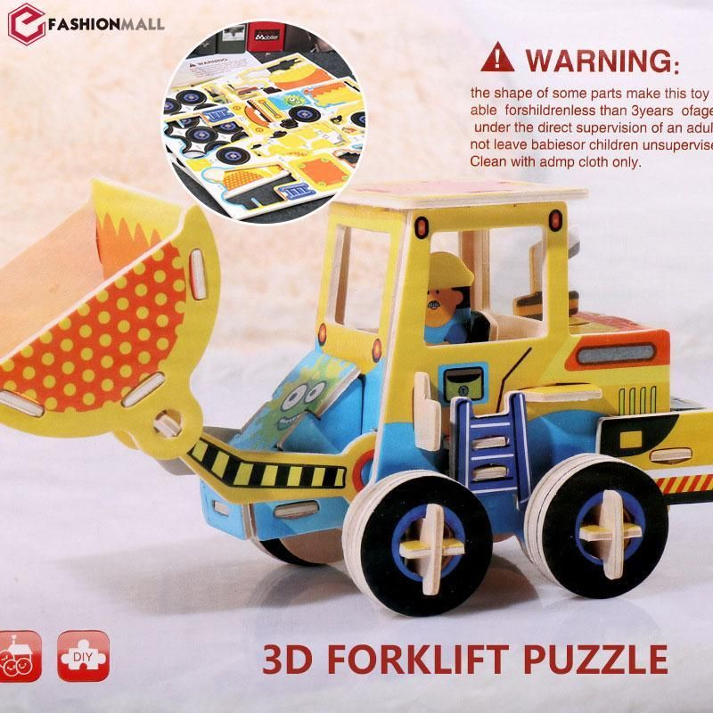 efashionmall multicolor model diy kayu teka teki mobil kendaraan puzzle hadiah mainan kecerdasan anak diy