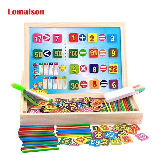 sumber belajar pendidikan kayu aritmatika nomor mainan kotak digital matematika blok teka teki dengan menghitung