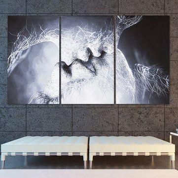 3 pcs cinta ciuman abstrak kanvas cetak lukisan gambar rumah dekorasi dinding dibingkai