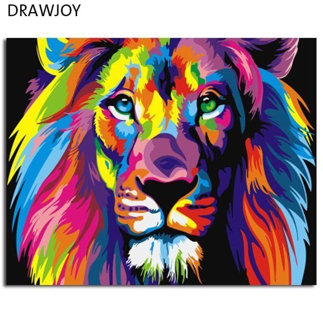 colorful singa abstrak framed gambar lukisan kaligrafi lukisan dengan angka diy pewarna oleh angka