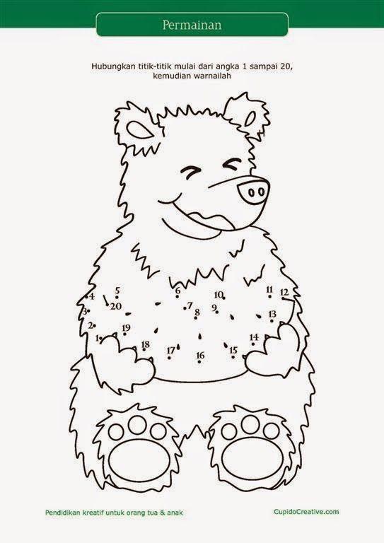 lembar bermain paud tk menghubungkan titik angka 1 20 sambil mewarnai beruang