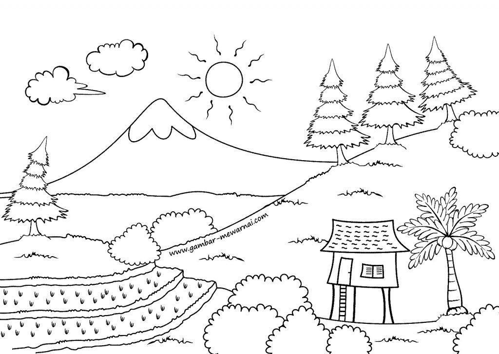 lukisan pemandangan untuk mewarna bernilai gambar pemandangan simpel nationalseizuredisordersfoundation gambar
