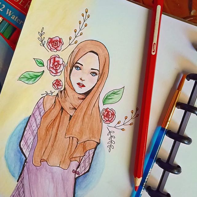 draw art drawing seni muslimah cartoon color fabercastell girl muslimahcartoon kartunmuslimah scarf hijab jilbab doodle mewarna flower
