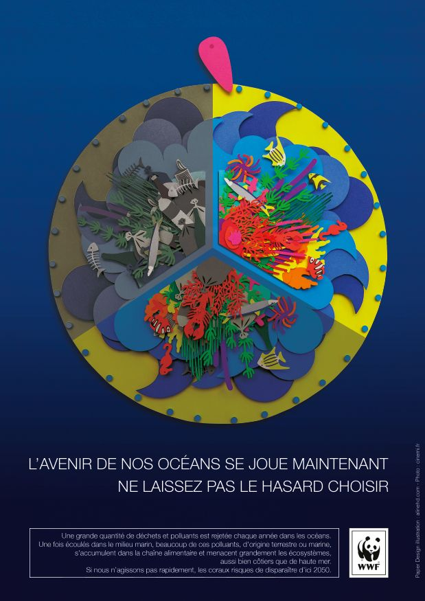 colorful layered poster depicting ocean protection by aline houde diebolt full