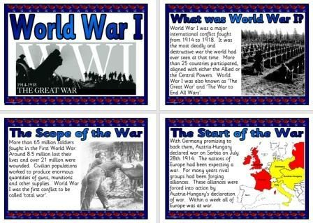 free history teaching resource world war i information posters