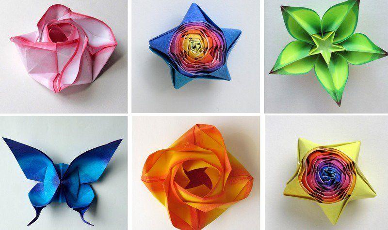 lipatan kertas bunga kompleks rama rama berwarna
