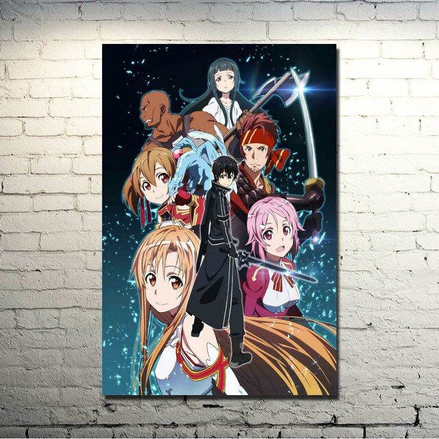 popigist sword art online 2 kirito asuna silk poster print 13x20 inches anime pictures for
