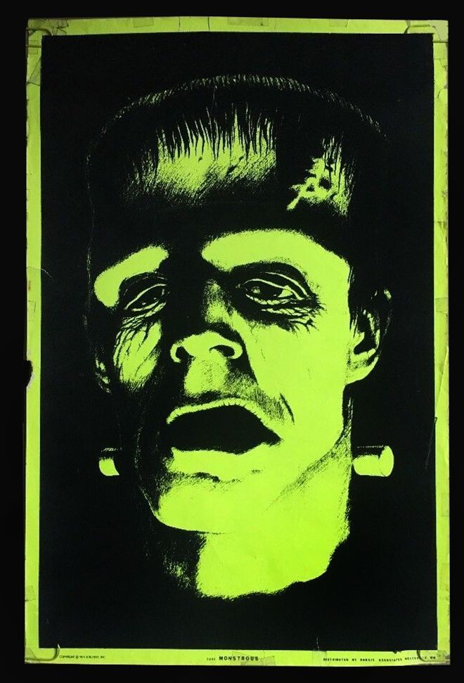 terrific vintage black light poster of frankenstein psychedelic colored pin up from the 1970 s