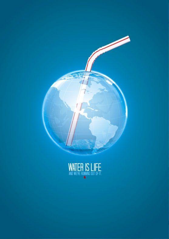 contoh gambar poster bertema tentang lingkungan hidup selamatkan air di bumi