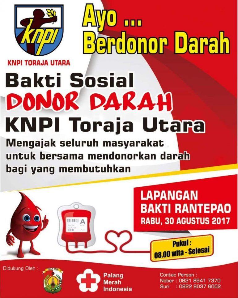 30 agustus knpi toraja utara gelar bakti sosial donor darah