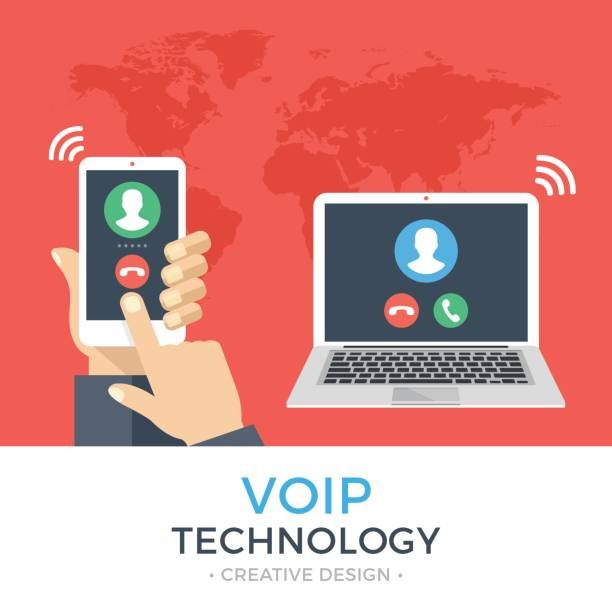 voip technology voice over ip ip telephony concept hand holding smartphone with outgoing