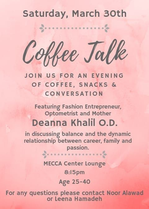 women join us for coffee talk with deanna khalil o d on march 30