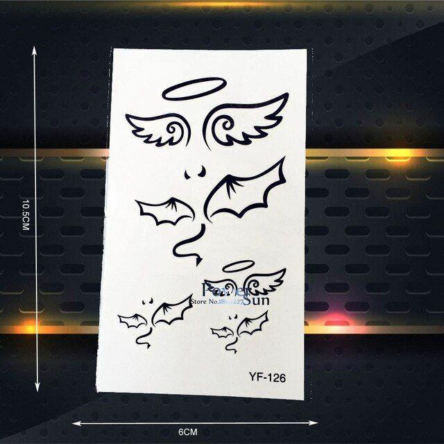 malaikat sayap stiker tato tato temporer peri tahan air palsu hitam wanita tubuh art arm