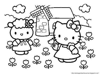 aneka gambar mewarnai gambar mewarnai hello kitty untuk anak paud dan tk pelajaran menggambar d gambar