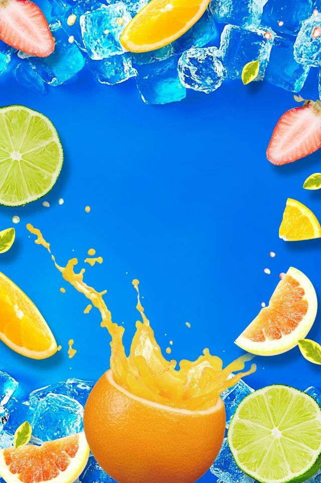 summer fruit orange drink poster musim panas sejuk kiub ais buah minuman orange propaganda poster pengiklanan latar