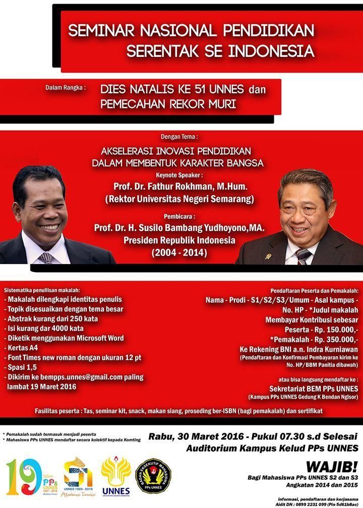 dan pps unnes bekerja sama dengan perguruan tinggi di berbagai kabupaten kota provinsi akan mengadakan seminar nasional secara serentak se indonesia