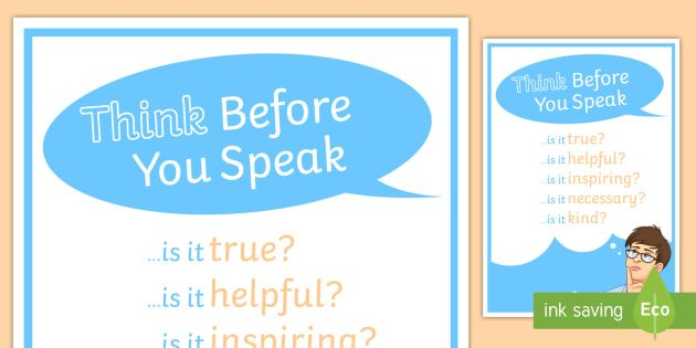 anti bullying think before you speak poster