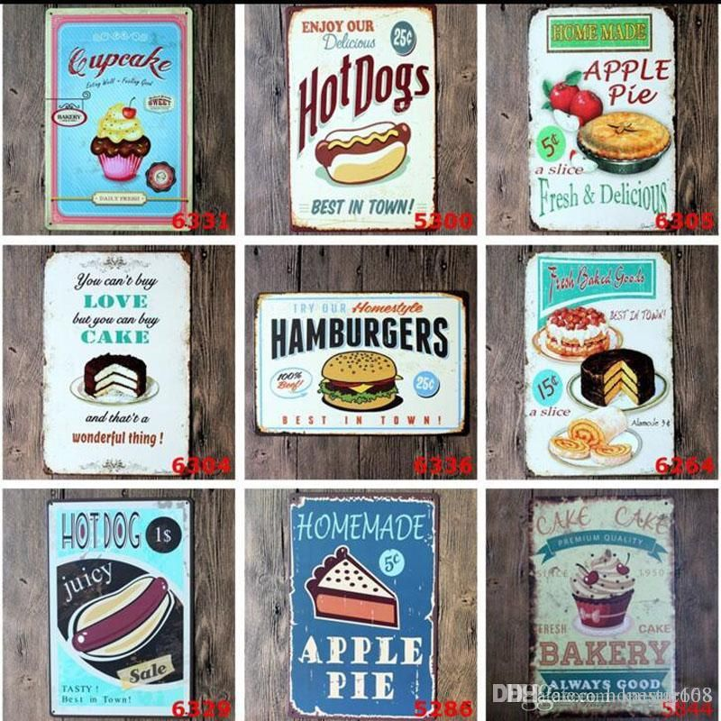 Vintage Poster Meletup 2019 Cake Snacks Hamburger Retro Poster Metal Painting Tin Sign Ktv